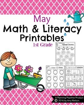 1st Grade Math and Literacy Printables - May