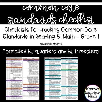 1st Grade Math and Reading Common Core Checklist - Trimest
