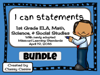 "1st Grade Missouri Learning Standards ""I can"" Statements &"