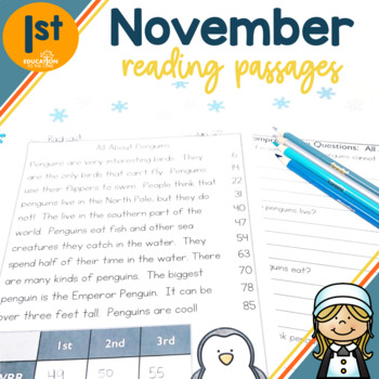 1st Grade November Fluency Passages