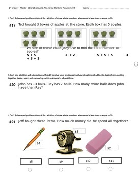 1st Grade Operations and Algebraic Thinking Test- Common C