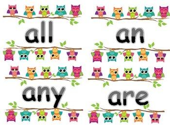 1st Grade Owl Sight Words