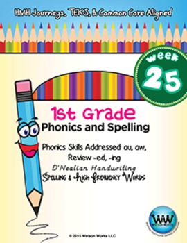 1st Grade Phonics and Spelling D'Nealian Week 25 (au, aw,
