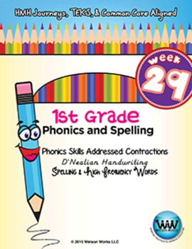 1st Grade Phonics and Spelling D'Nealian Week 29 (Contractions)