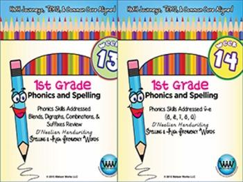 BUNDLE: 1st Grade Phonics and Spelling D'Nealian (Weeks 13-18)