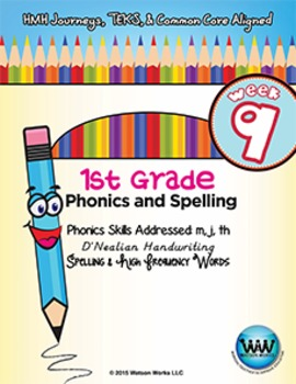 1st Grade Phonics and Spelling D'Nealian Week 9 (m, j, th)