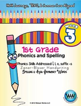 1st Grade Phonics and Spelling Zaner-Bloser Week 3 (short