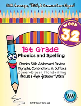 1st Grade Phonics and Spelling Zaner-Bloser Week 32 (Review)