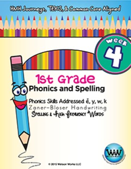1st Grade Phonics and Spelling Zaner-Bloser Week 4 (short