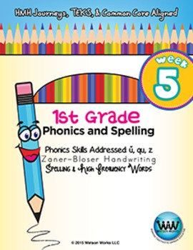 1st Grade Phonics and Spelling Zaner-Bloser Week 5 (short