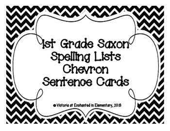 1st Grade Saxon Spelling Lists 1-25 Chevron Sentence Cards