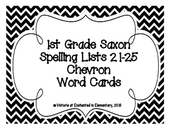 1st Grade Saxon Spelling Lists 21-25 Chevron Word Cards