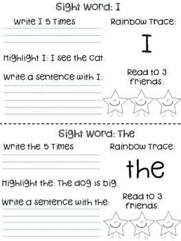 1st Grade Sight Word Activities