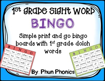 1st Grade Sight Word Bingo