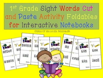 1st Grade Sight Words Cut and Paste Activity for Interacti