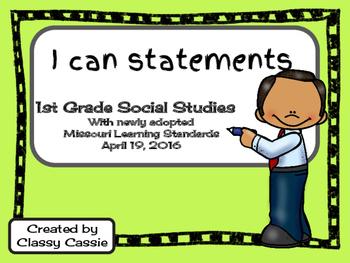 1st Grade Social Studies Missouri Learning Standards I can