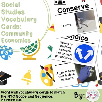 1st Grade Social Studies Vocabulary Cards: A Working Community