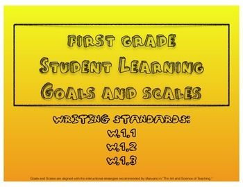 1st Grade Writing Student Learning Goals and Scales - No Prep!