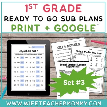 1st Grade Sub Plans Ready To Go for Substitute. DAY #3. No