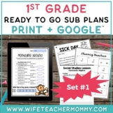 1st Grade Sub Plans Ready To Go for Substitute. No Prep. O