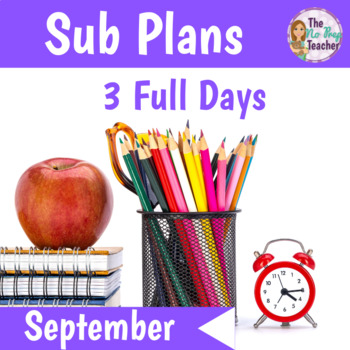 Sub Plans 1st Grade September 3 Full Days