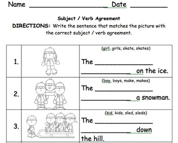 1st Grade Subject Verb Agreement 2