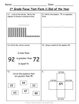 1st Grade TEKS Focus Test/Benchmark Form C-End of the Year