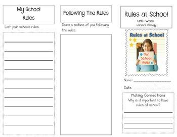 1st Grade UNIT 1 WEEK 1- At School: Brochure Bundle McGraw