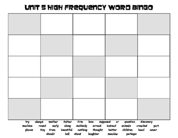 Treasures 1st Grade Unit 5 High Frequency Word Bingo