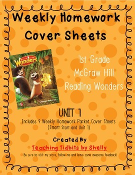 Reading Wonders - 1st Grade Weekly Homework Cover Sheets