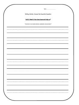 1st Grade Wonders Unit 6 Writing Activity: Answer the Esse