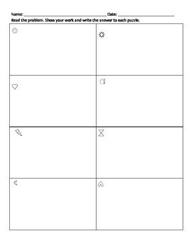 1st Grade Word Problem Math Center