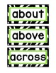 1st Grade Word Wall Cards - Aqua, Lime, and Zebra Print