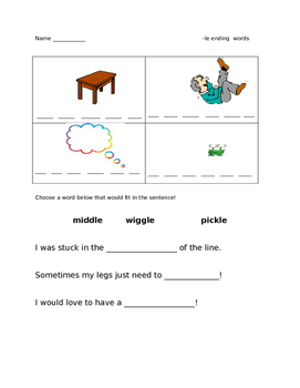 1st Grade Word Work (ending with -le)