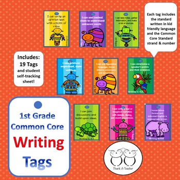 1st Grade Writing Common Core Brag Tags