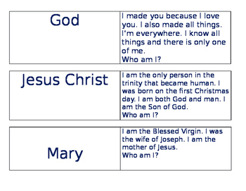 1st Year Catechism Review Game
