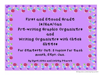 1st & 2nd Grade Is/Has/Can Prewriting Graphic Organizers a