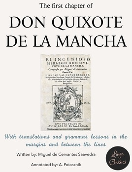 1st chapter of Don Quijote de la Mancha with English annot
