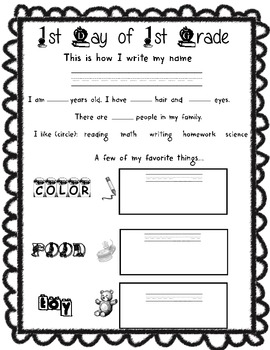 1st day of 1st grade packet