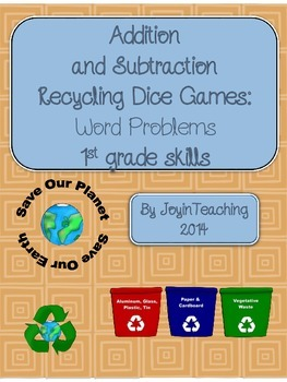 1st grade Addition and Subtraction Recycling Dice Games: W