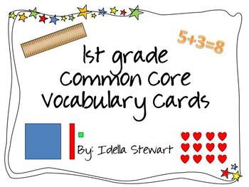 1st grade Common Core Standards Vocabulary Cards