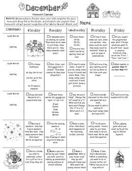 1st grade December 2015 Homework Calendar *Common Core Aligned*
