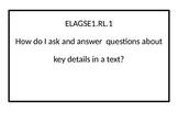 1st grade ELA Essential Questions posters.