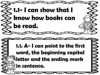 1st grade I can statements ELA