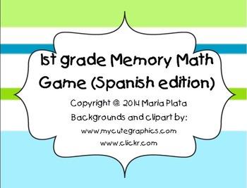 1st grade Math Memory Game (Spanish edition)