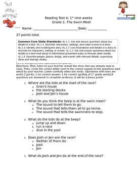 1st grade engage ny reading test 4 1st nine weeks