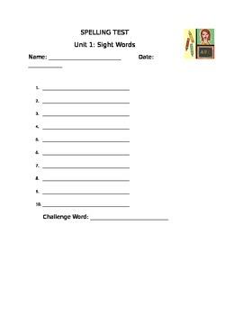 1st grade spelling test format