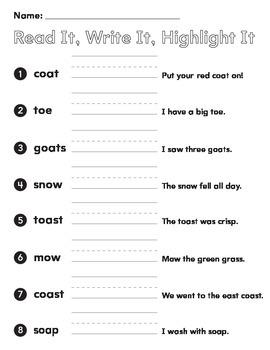 1st grade spelling words vowel teams oa ow oe read it writ