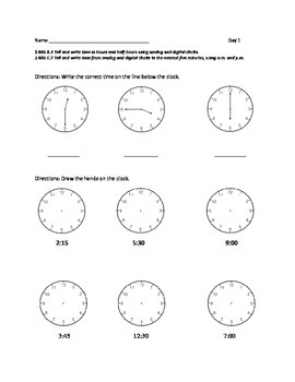 1st or 2nd Grade Common Core Math Worksheets: Time  ( 1.MD