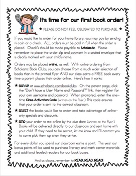 1st scholastic book order note for parents